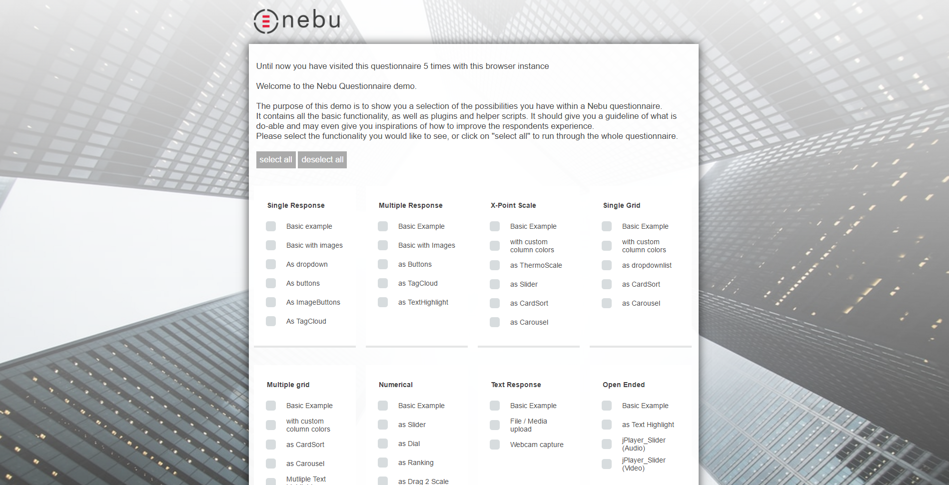 Designing a Responsive Questionnaire within Nebu Software